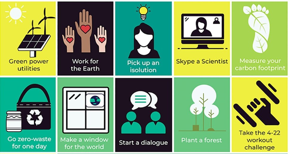 A poster depicting actions you can take as part of the Earth Day 2020 Daily Challenge