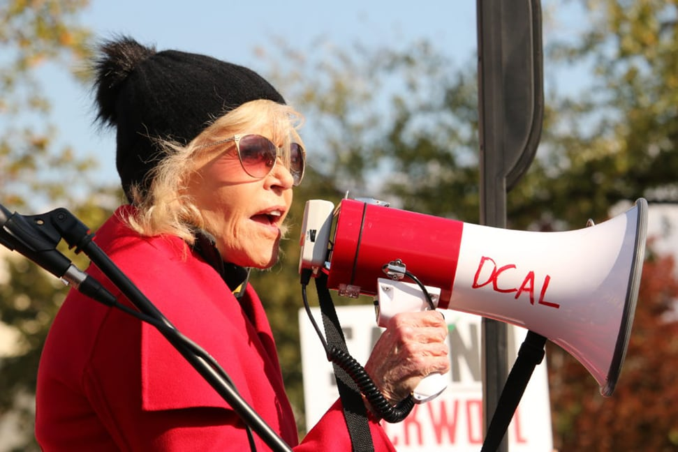 Jane Fonda speaks out at a protest raising awareness for climate change