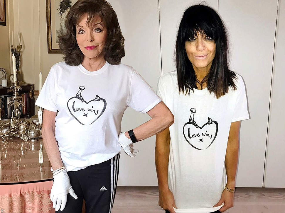 The Comic Relief t-shirts by Charlie Mackesy, worn by Dame Joan Collins and Claudia Winkleman