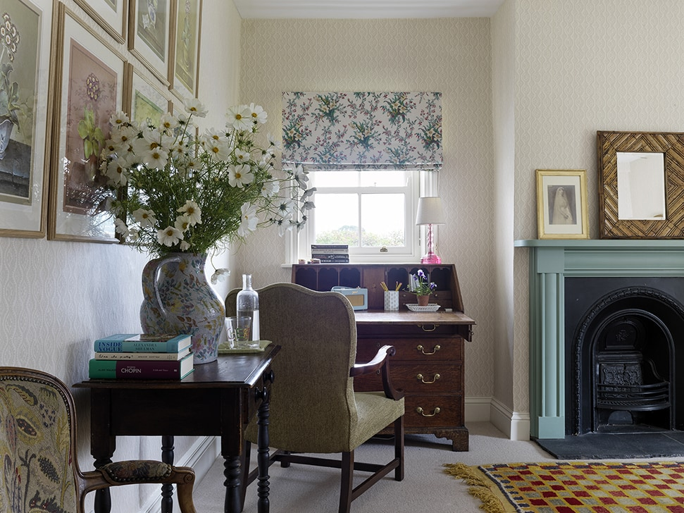 The study at her farmhouse in North Farm, County Durham