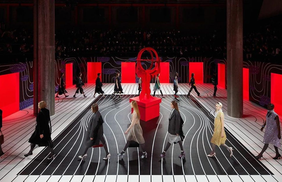 Models on the catwalks for the A/W 2020 Prada show - the playlist for the show is now available online