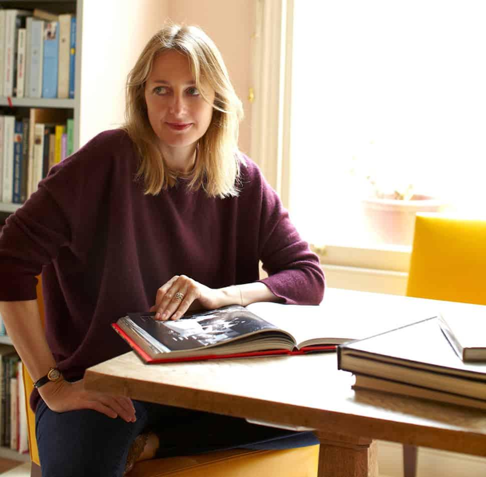 Rita Konig sitting at home. Portrait by Craig Fordham