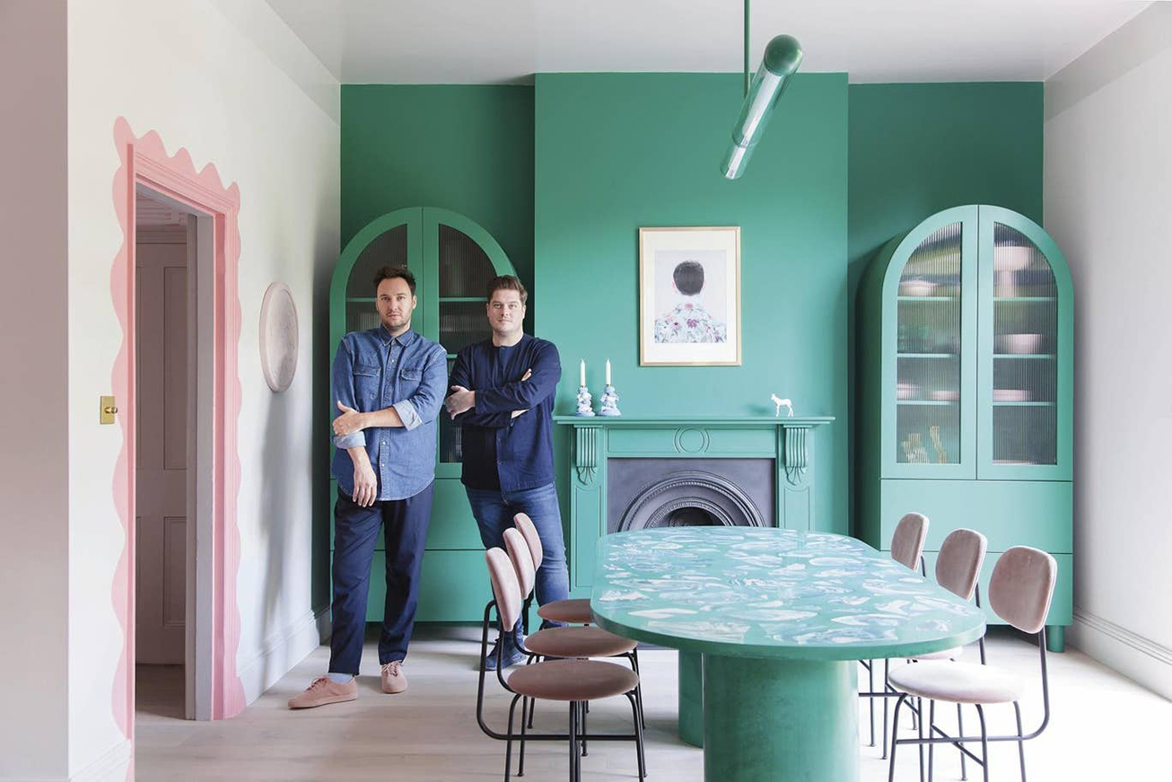 Russell Whitehead and Jordan Cluroe of 2LG Studio in their kitchen, dining and work space