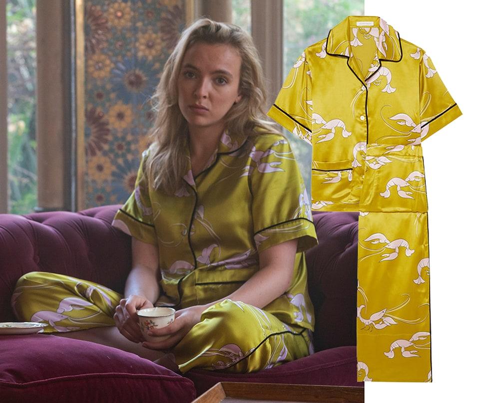 Villanelle (played by Jodie Comer) wears Olivia Von Halle silk-satin Pyjamas
