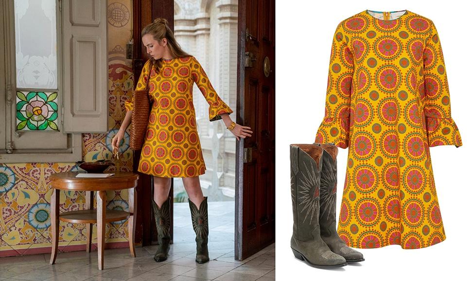 Villanelle (played by Jodie Comer) wears a La DoubleJ Cotton-Blend Print Shift Dress