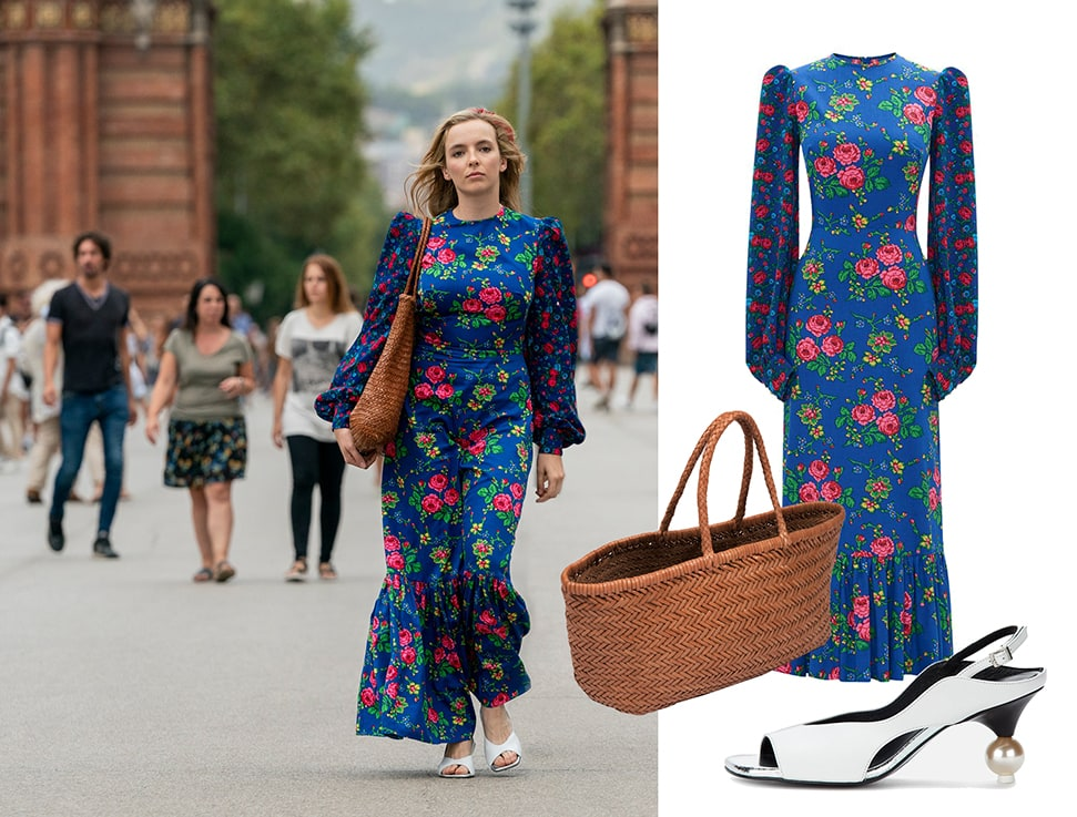 Villanelle (played by Jodie Comer) wears a blue floral dress by The Vampire's Wife