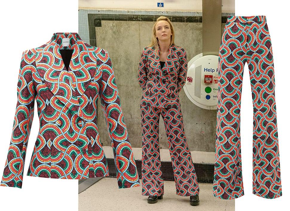 Villanelle (played by Jodie Comer) wears a Halpern 70's geometric print trouser suit