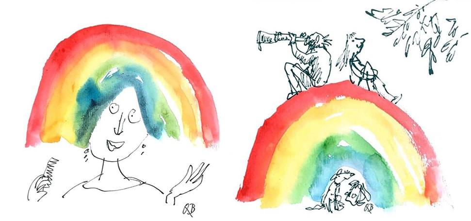 One of the rainbow illustrations by Sir Quentin Blake, featuring a woman with rainbow hair and a rainbow hill