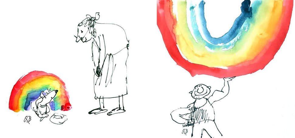 Two of the rainbow illustrations by Sir Quentin Blake, including a dog using a rainbow as a kennel and a man using one as a weight