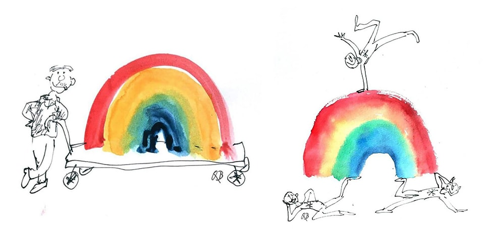 Two of the rainbow illustrations by Sir Quentin Blake, including a rainbow on a trolley and someone doing gymnastics on a rainbow