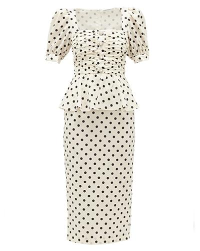 Alessandra Rich Puff sleeve polka dot silk midi dress