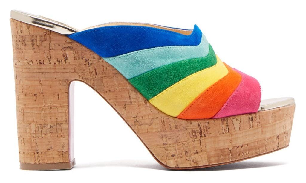 Christian Louboutin rainbow stripe mules