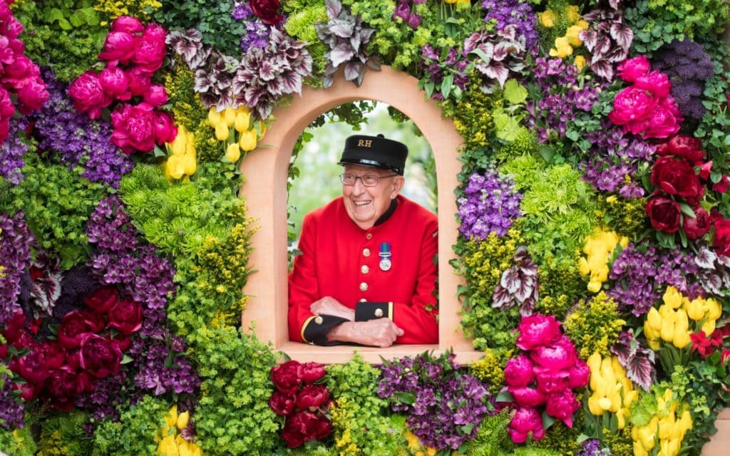 A Chelsea Pensioner at the Chelsea Flower Show 2019