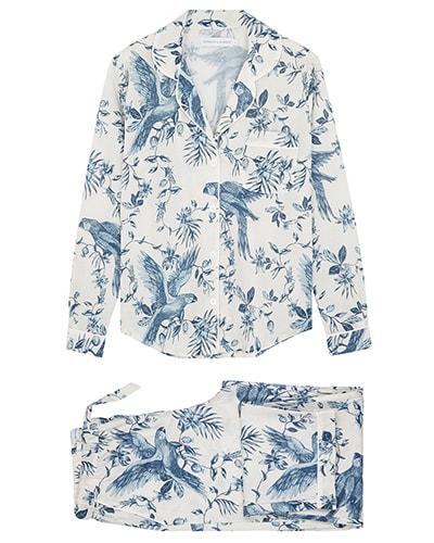 Desmond & Dempsey Bromley Parrot printed cotton pyjama set