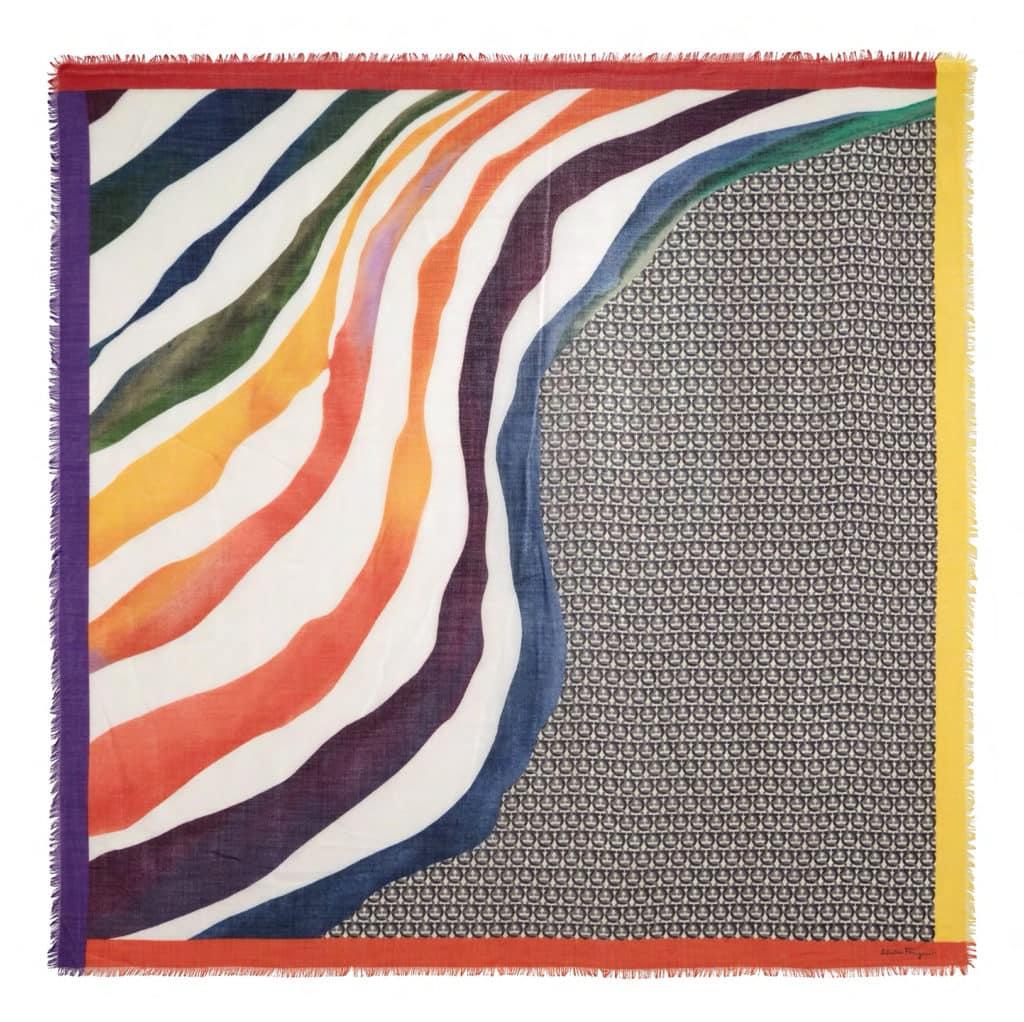 Salvatore Ferragamo printed waves rainbow scarf