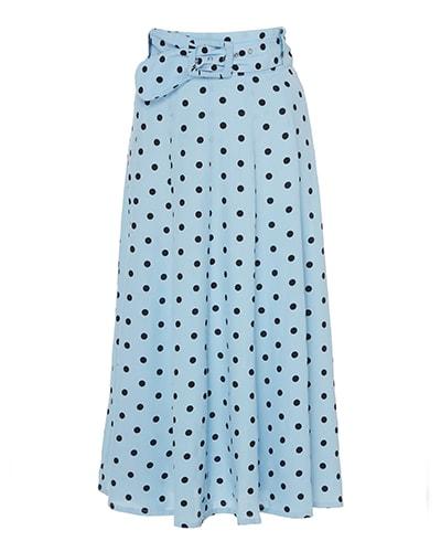 Faithfull The Brand Luda Polka Dot Crepe Midi Skirt