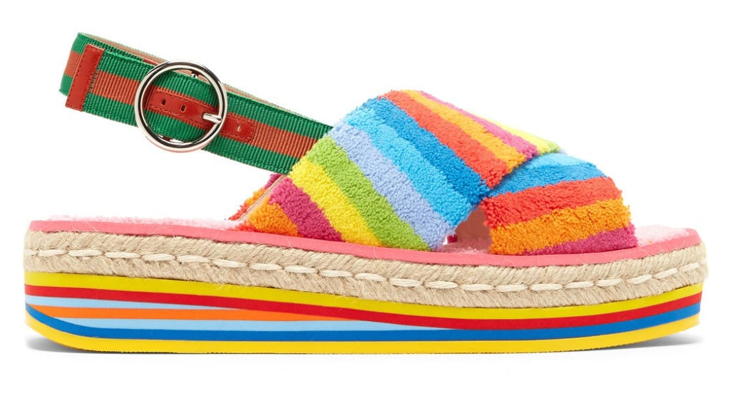 Gucci rainbow flatform sandals