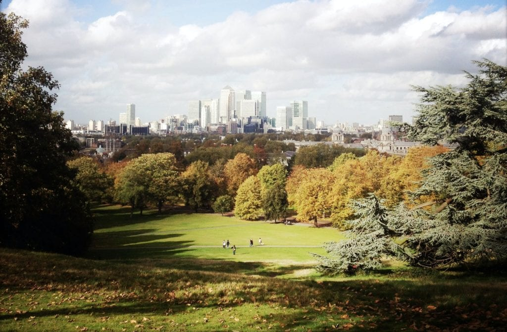 The view over London from Greenwich Park