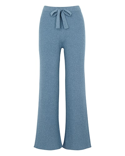 Live The Process Blue ribbed cotton-blend trousers