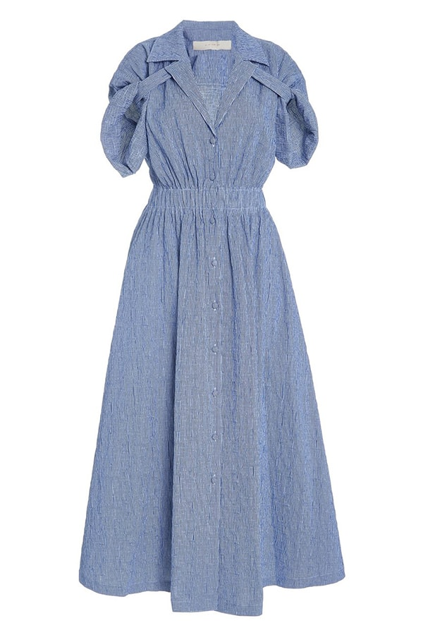 by any other name stripe shirred cotton blend gauze midi dress