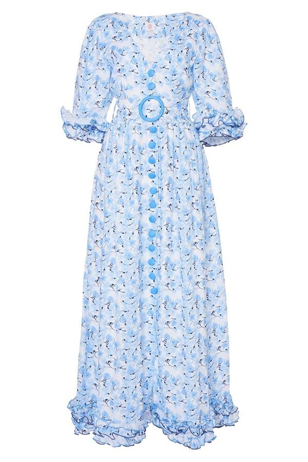gul hurgel floral belted ruffled floral print linen maxi dress
