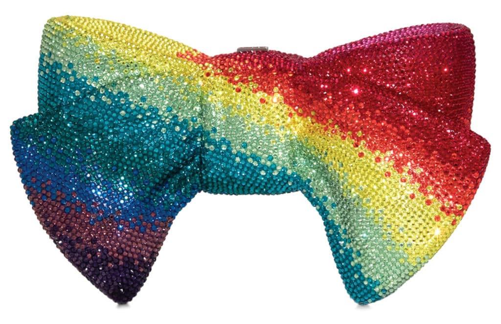 Judith Leiber rainbow bow clutch bag