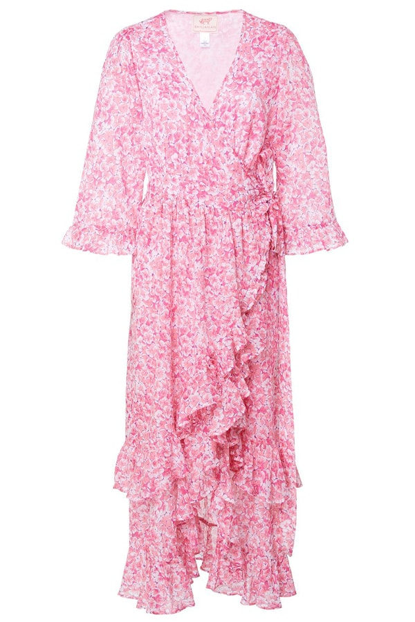large banjanan pink marta printed wrap effect cotton dress 1