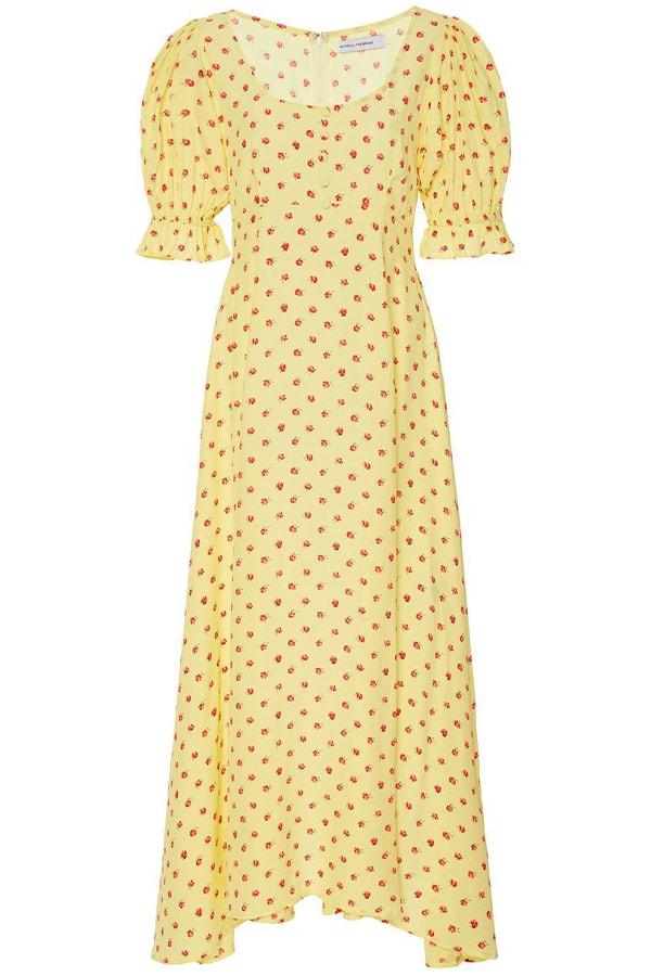 large faithfull yellow linnie floral print crepe midi dress