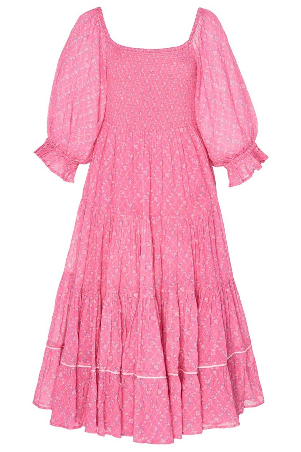 large love shack fancy pink rigby pleated cotton midi dress