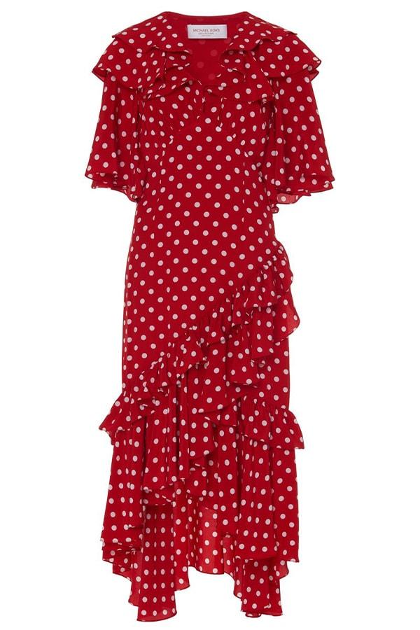 Michael Kors Polka Dot Silk Ruffle Dress