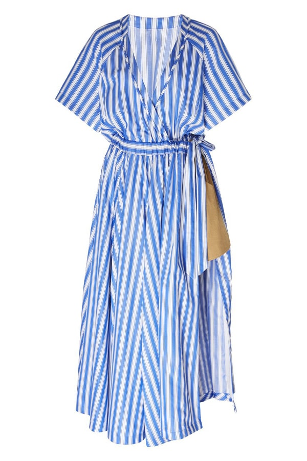 large rosie assoulin stripe striped cotton poplin wrap dress