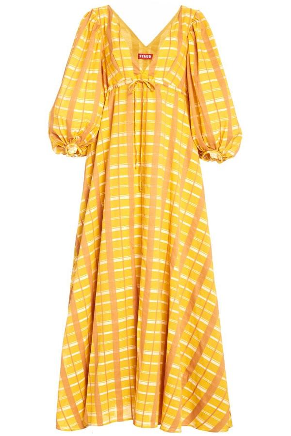 large staud plaid amaretti balloon sleeve cotton blend dress