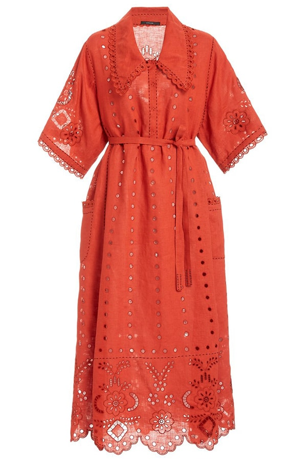 large vita kin red charlotte broderie anglaise linen midi dress