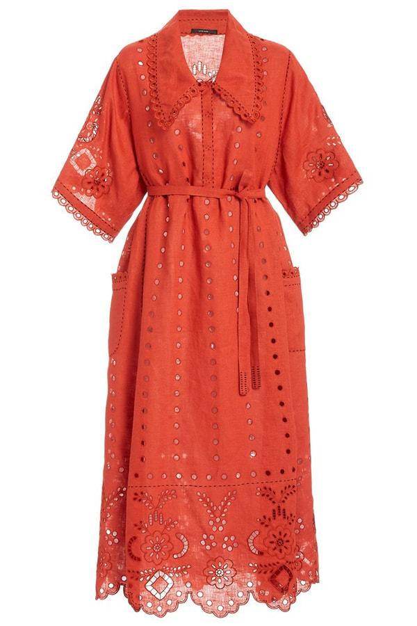 large vita kin red charlotte broderie anglaise linen midi dress