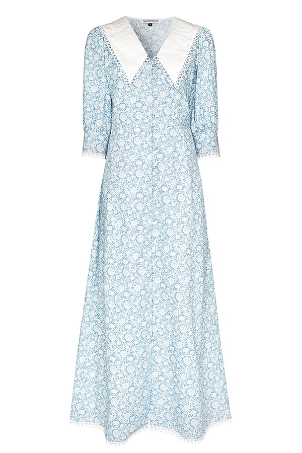 masterpeace BROWNS oversized collar floral print cotton maxi dress 14849888 26840926 1920