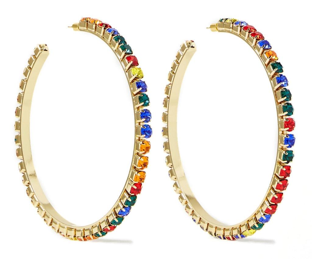 Area crystal rainbow hoop earrings