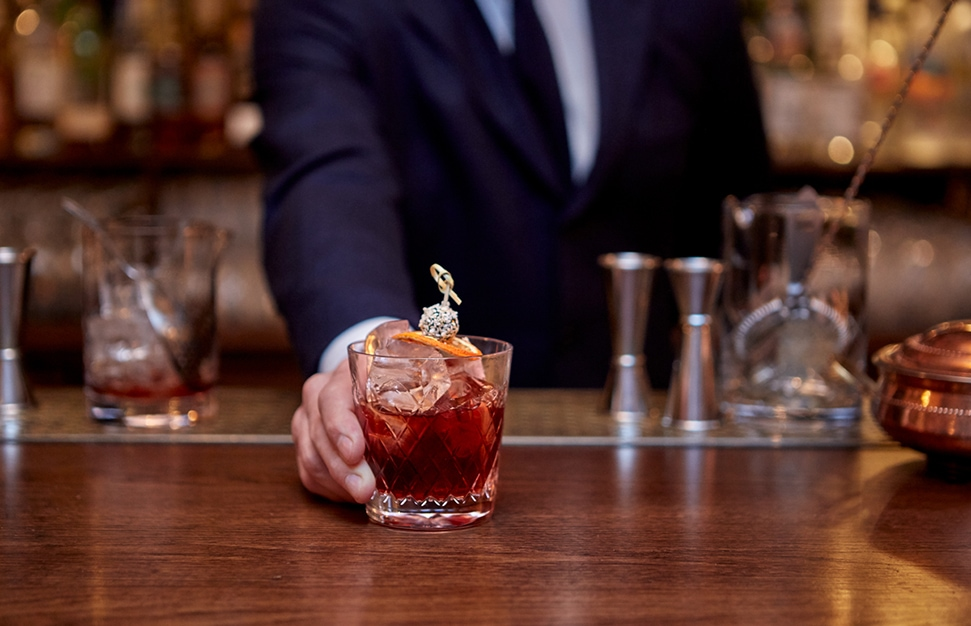 The Boulevardier cocktail at The Ned, a take on the classic Negroni