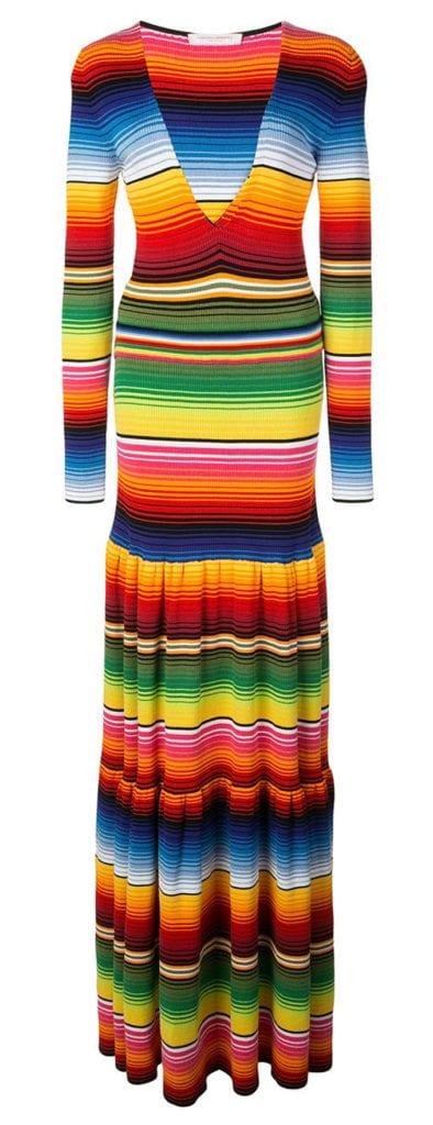 Carolina Herrera rainbow strip maxi dress