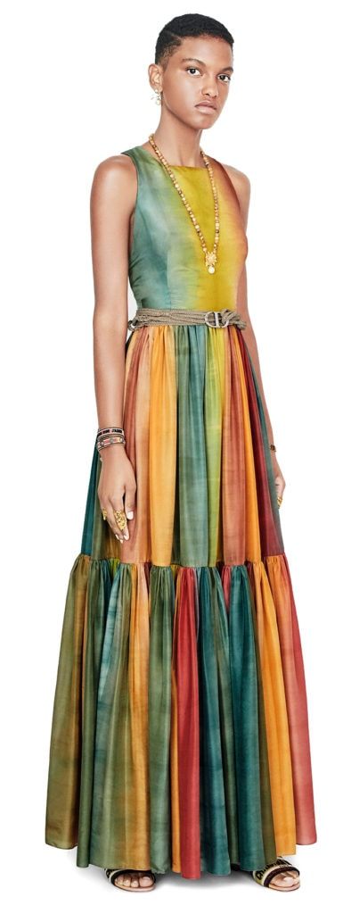 Dior stripe maxi dress
