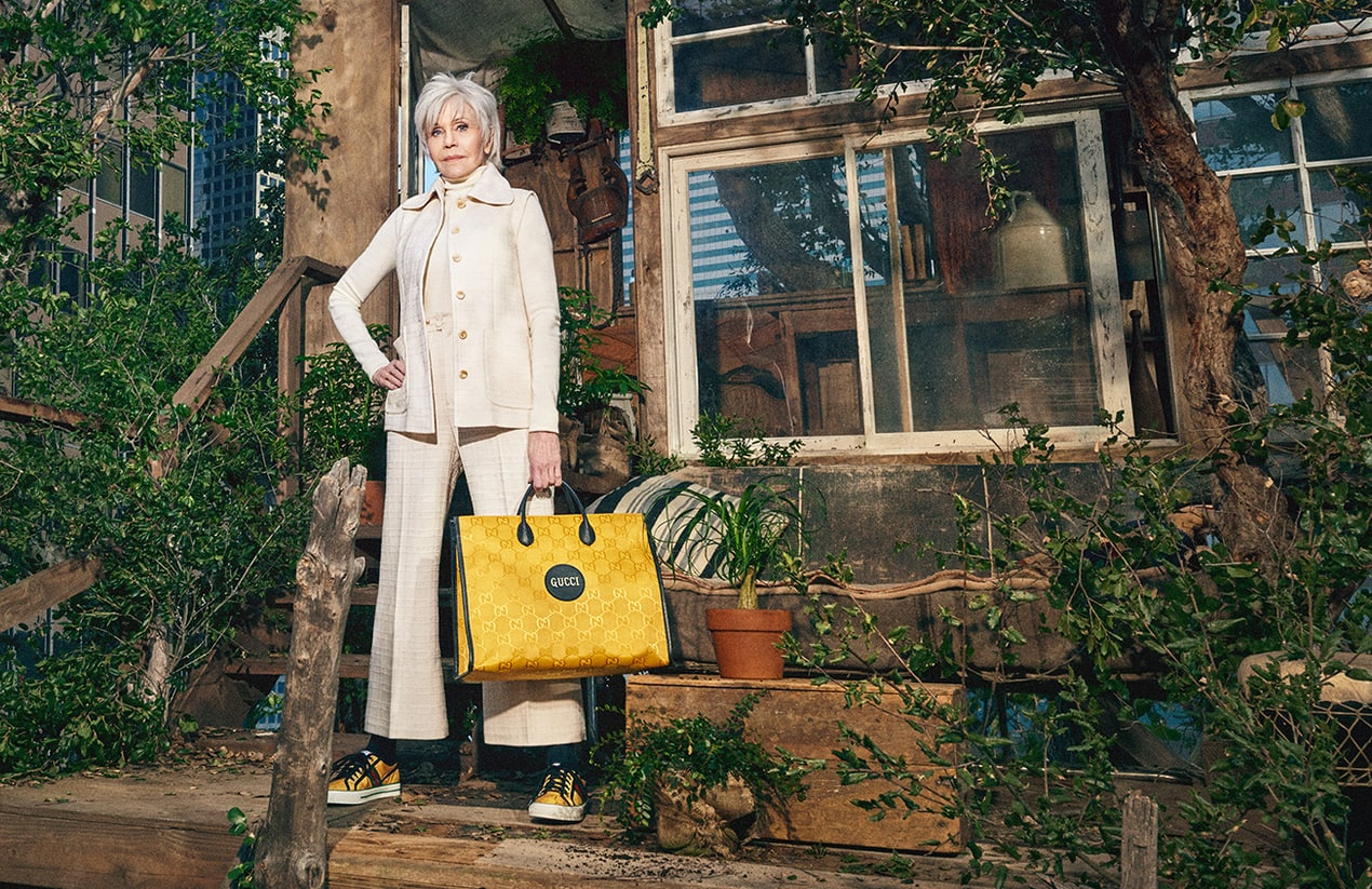 Actor and activist Jane Fonda stars in the new Gucci Off The Grid collection campaign