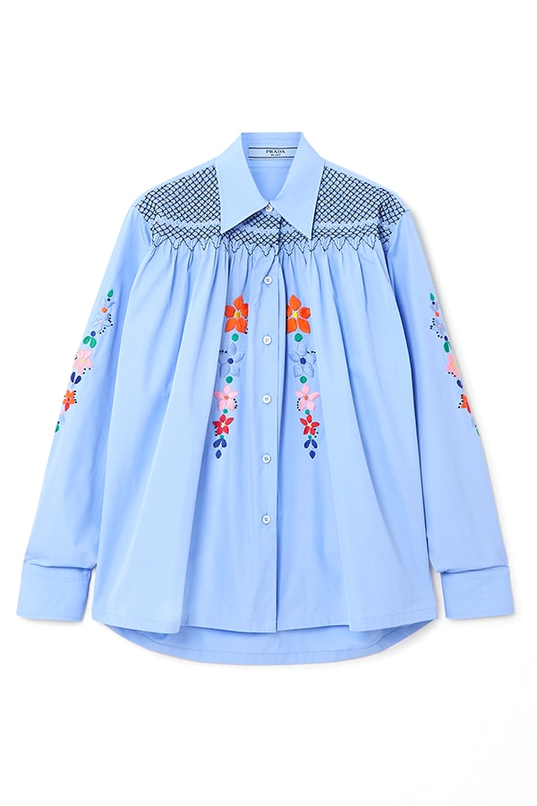 PRADA Smocked embroidered cotton poplin blouse