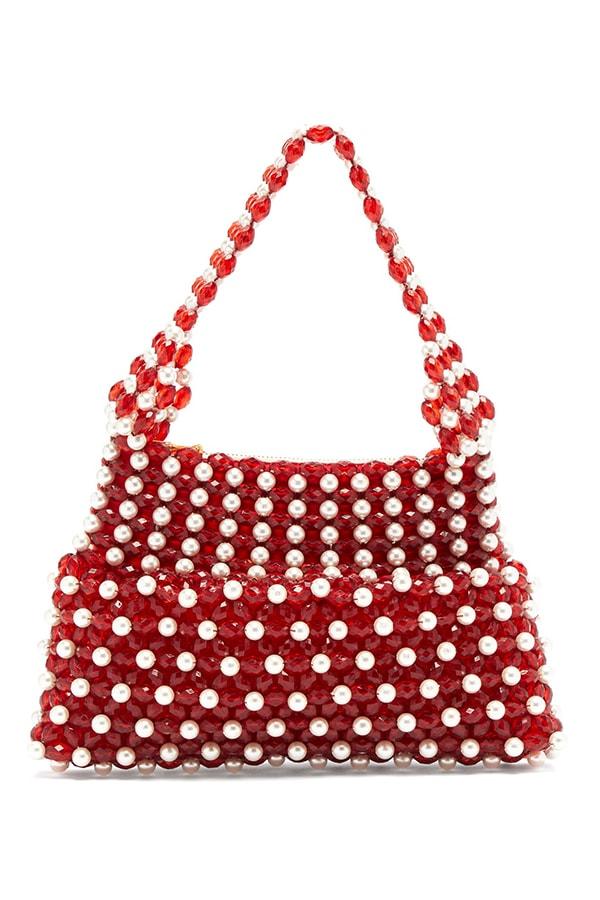 SHRIMPS Quinn faux pearl beaded bag