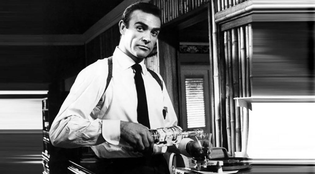 Sean Connery in Dr No drinking a martini