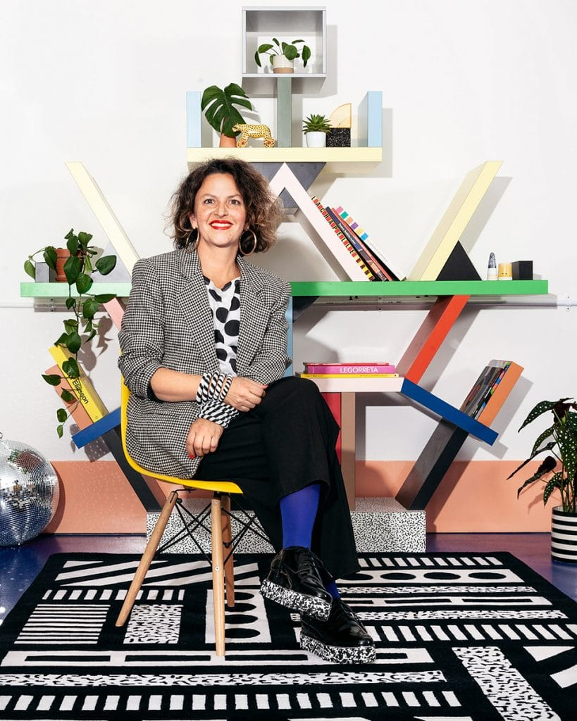 Camille Walala in the studio  with White Noise rug for Floor Story 03
