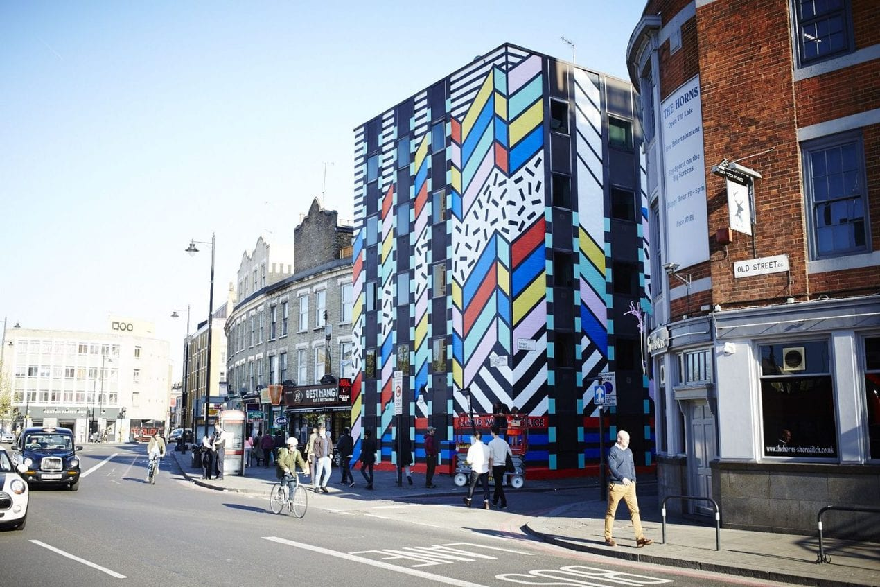 Dream Come True mural in East London by Camille Walala