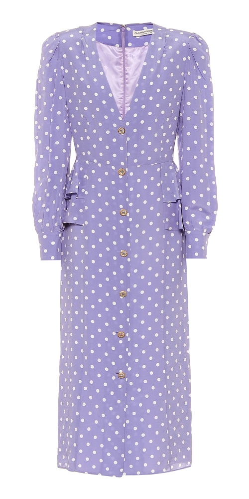ALESSANDRA RICH Polka dot silk midi dress 1394 MY THERESA