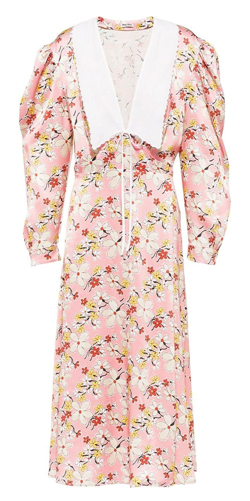 Miu Miu floral print sablé dress 2070 FAR