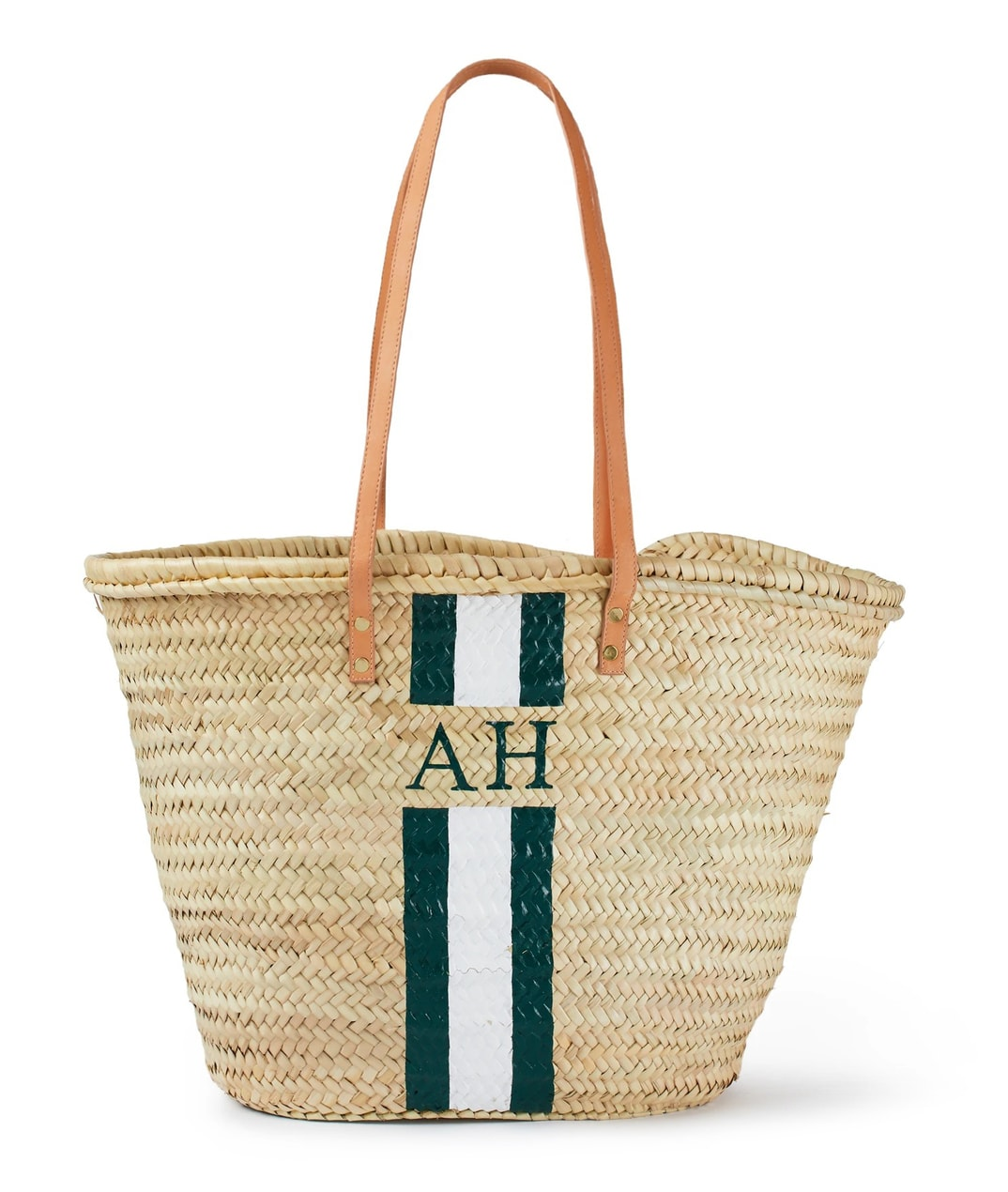 Rae Feather Long Leather Handle Basket Green