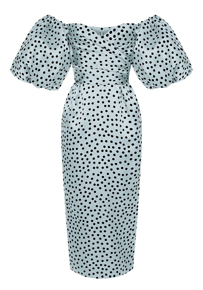 Rasario Polka Dot Silk Organza Off The Shoulder Midi Dress 2010.00