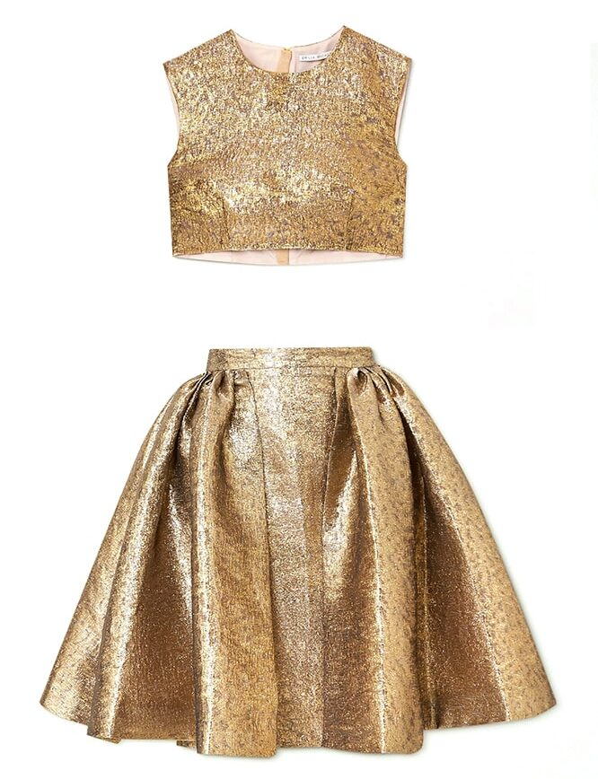 A guide to festive dressing: How to style yourself happy at home by Alexandra Carello Emilia Wickstead Cropped lame top and skirt e1607982994765